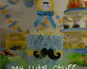 Cute Diaper Cake - Baby Shower - Nursery Gift - Mustache Theme