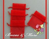Red Organza Bags - Set of 100 Bags - 5x8inch
