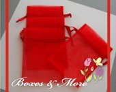 Red Organza Bags - Set of 30 Bags - 4x6inch