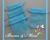 Light Blue Organza Bags - Set of 100 Bags - 3x4inch