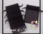 Black Organza Bags - Set of 100 Bags - 5x8inch