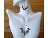 Amethyst Bead Necklace and Earring Set