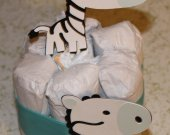 Zebra themed Baby shower gift, Diaper cake with zebras