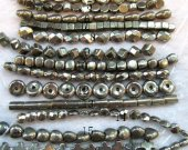 bulk  pyrite  beads,  iron gold  rice square coin oval cross drop column donut assortment gemstone jewelry beads