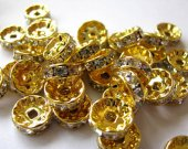 1300pcs 6mm 8mm 10mm high quality metal spacer clear crystal silver gold black