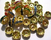 rondelle spacer tone gold with blue green purple carmine mixed crystal rhinestone jewelry finding 8mm 500pcs