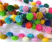 wholesale resin plastic jewelry bead 12mm 100pcs,chrysanthemum  florial petal assortment color jewelry beads