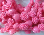 fashion resin plastic 15mm 100pcs--high quality rose florial petal baby pink red assortment color charm