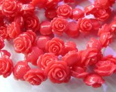 wholesale fashion resin plastic 15mm 100pcs-- rose florial petal baby oranger red coral assortment color jewelry