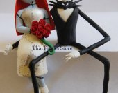 Jack and Sally Ledge Wedding Cake Topper