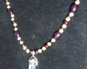Quartz Crystal double terminated 20 inch beaded necklace, flower hook clasp