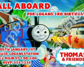 Thomas the Train Personalized 4x6 Birthday Party Invitations - Style 1