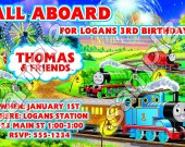 Thomas the Train Personalized 4x6 Birthday Party Invitations - Style 5