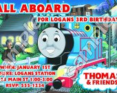 Thomas the Train Personalized 4x6 Birthday Party Invitations - Style 8