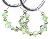 Sterling Silver Hoop and Swarovski Chrysolite Crystal Earrings