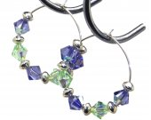 Swarovski Tanzanite and Chrysolite Crystals on Sterling Silver Hoop Earrings