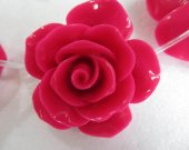 fashoin resin plastic 17mm full strnad rose florial petal cherry red assortment color jewelry  focal
