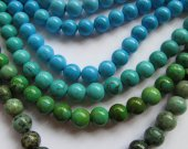 bulk  turquoise gemstone  round ball  green blue  jewelry  beads 8mm--5strands 16inch/per strand