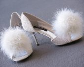 Shoe Clips, Feather clip, Tinkerbell, Wishie, Dandelion, white, ivory, custom