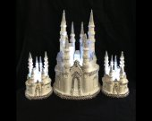 3pc.  Wedding quinceanera  Rhinestone cinderella castle in white and silver lighted cake topper  and unity candles