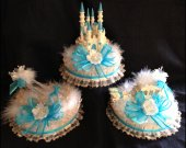 3 pc. cinderella castle carriage and slipper light cake topper   in  turquoise