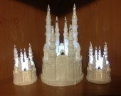 3pc.  Wedding quinceanera   cinderella castle in white lighted cake topper and unity candles