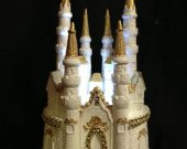 Weddingg quinceanera  sweet 16 cinderella castle  light cake topper in  gold    and any color