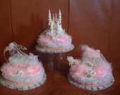 3 pc. Weddind quinceanera   sweet 16 cincerella  castle carriage  slipper in pink. lighted cake topper  in gold