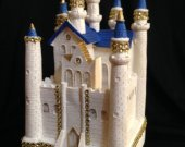Wedding cinderella castle   cake topper in  blue and gold