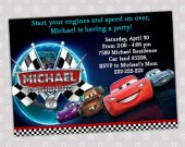 Disney CARS 2 Lightning McQueen All Cars Birthday Party Invitation - Digital File