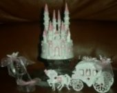 3 pc  wedding quinceanera sweet16  cinderella castle carriage and slipper  cake topper in pink
