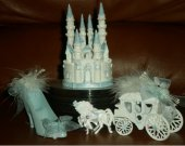 3 pc  wedding quinceanera sweet16  cinderella castle carriage and slipper  cake topper in blue