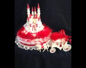 2 pc.  Wedding cinderella cadtle  carriage  light cake topper in  red