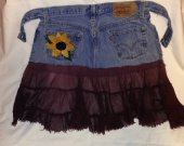 Garden/kitchen/art aprons $15.00   (re-purposed jeans and beach skirts)