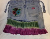 Garden/kitchen/art apron $15.00 -32inch waist  (re-purposed jeans and beach skirts)