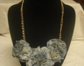 Re-purposed jean necklace /Heart on Heart -1 16inch