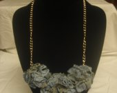 Re-purposed jean necklace /Heart on Heart -2 16inch