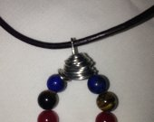 leather and stone metal wrapped necklace sterling silver clasp -27