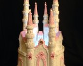 Wedding quinceanera sweet 16 cinderella castle  light cake topper in  pink