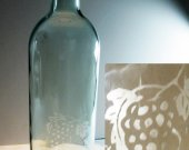 Etched Glass Wine Bottle, Hurricane Candle, Wine Lover Gift