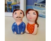 Art Sculpture/Human Doll Clay/Couple Figurine/Father&Mother/Paper Clay/Miniature Handmade