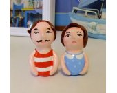 Art Sculpture/Doll Clay/Couple Figurine/Father&Mother/Paper Clay/Miniature Handmade