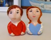 Art Sculpture/Human Doll/Couple Figurine/Boy&Girl/Paper Clay/Miniature Handmade