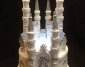 Wedding quinceanera   sweet 16 cinderella castle light cake topper in  white and silver    and any color
