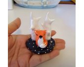 Art Sculpture/Miniature Animal/Figurine/Little Fox&Tree in Winter/Snow/Paper Clay/Handmade
