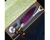 Windsor LL-42 Magenta Feather Writing Quill Fountain Pen Set Birthday Gifts For Her