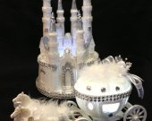 2 pc. Cinderella  castle slipper  carriage light cake topper in  white