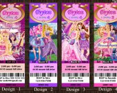 Barbie Princess and the Popstar Birthday Party Invitation 01 - Ticket Style - Digital File, Printable