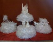 4 pc. Cinderella   castle slipper  carriage ang wedding couple   light cake topper in  white
