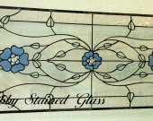 Stained Glass Panel - Blue Flowers